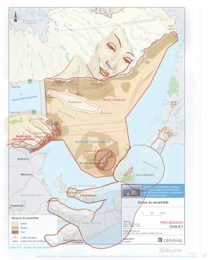 Mer Nourricière, image adaptée de Genivar http://www.ees.gouv.qc.ca/documents/chapitres/ees2_information_zones-sensibilite-5-3.pdf